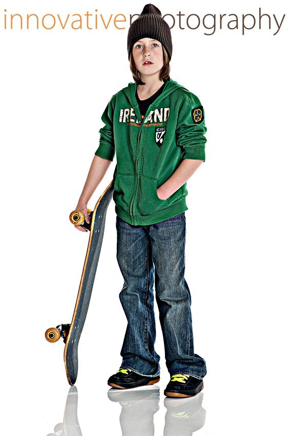 cute boy with a skateboard