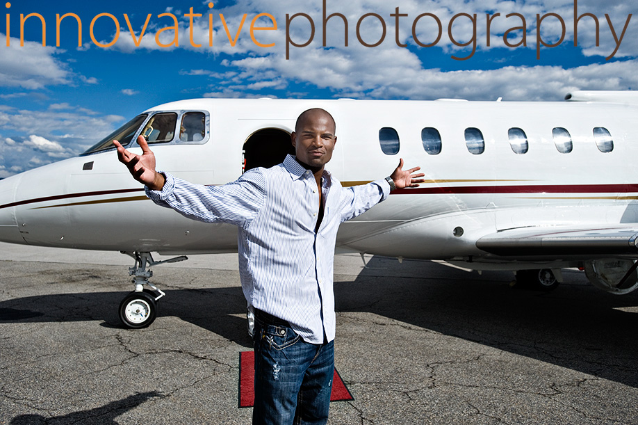 African American man with a private jet